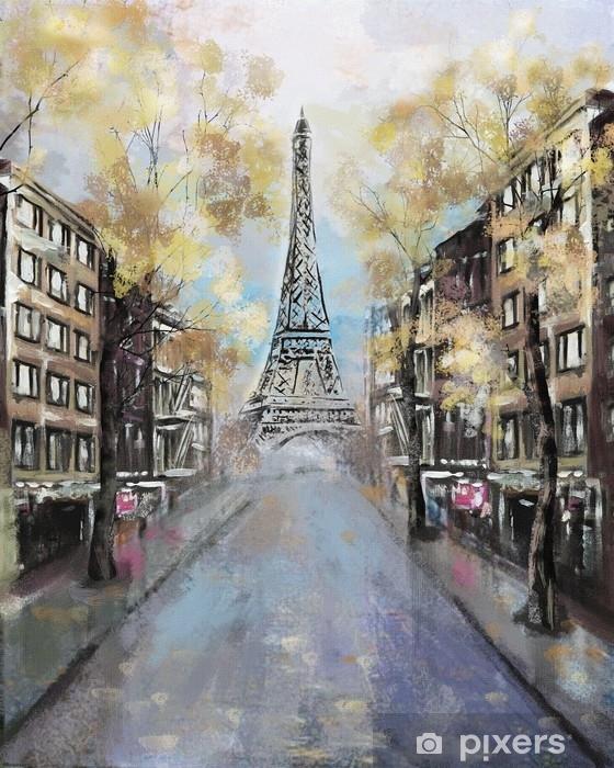 Carta Da Parati O Pittura.Carta Da Parati In Vinile Pittura Ad Olio Parigi Paesaggio Della Citta Europea Francia Carta Da Parati Torre Eiffel Arte Moderna Strada