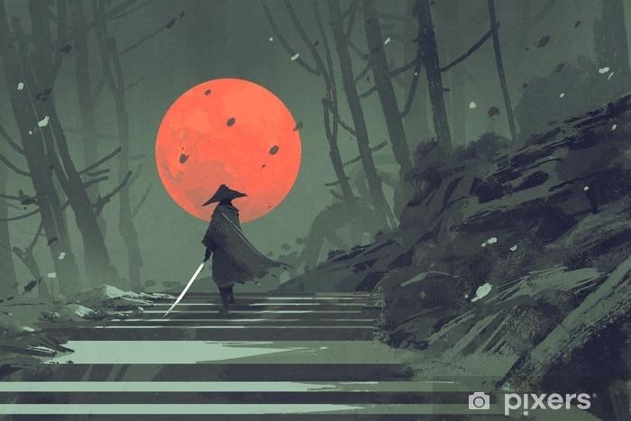 Fototapeta winylowa Samuraj stojący na schodach w nocy w lesie z czerwoną księżyc na tle, ilustracja malarstwo - Hobby i rozrywka