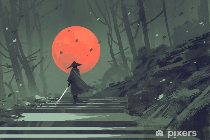 Samurai standing on stairway in night forest with the red moon on background,illustration painting Pixerstick Sticker - Hobbies and Leisure