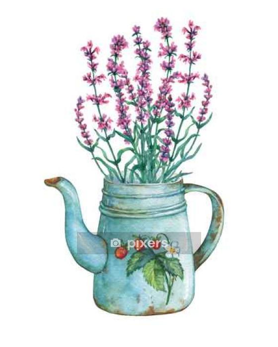 Sticker Mural Vintage Théière En Métal Bleu Avec Des Fraises Modèle Et Bouquet De Fleurs De Lavande Main Peinture à L Aquarelle Dessinée Sur Fond