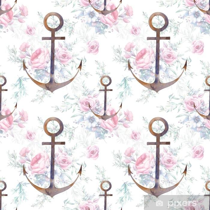 Fotomural Estándar Ancla náutica y ramos de flores de patrones sin fisuras. pintado a mano repitiendo el diseño de la textura con elemento de mar y flores sobre fondo blanco. Ilustración acuarela - Recursos gráficos
