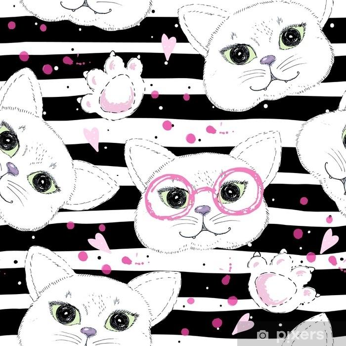 Vinilo Pixerstick Gatos lindos sin fisuras de fondo - Recursos gráficos