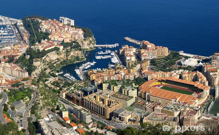 Monaco, vue aérienne de Fontvieille Pixerstick Sticker - Europe