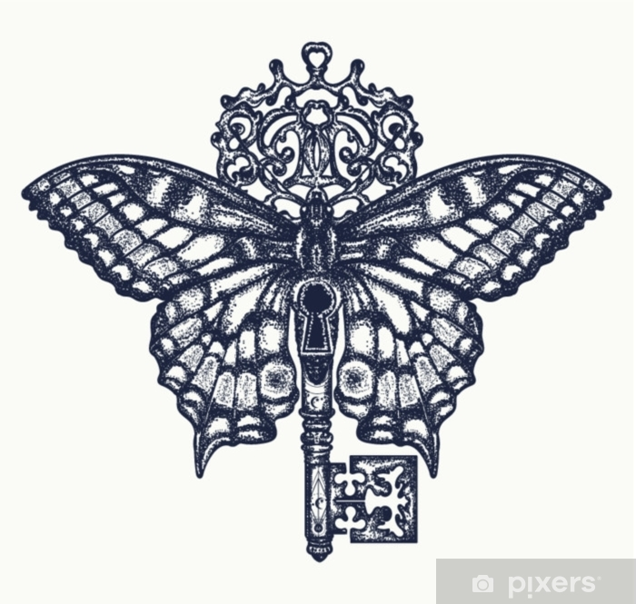 Favoriete Sticker Vlinder en sleutel tattoo art. mystiek symbool van @LF14