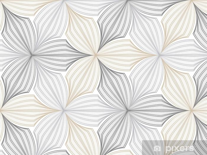 Papier peint vinyle Vecteur de motif de fleur, répétition de pétale linéaire de fleur, élégant monochrome - Ressources graphiques