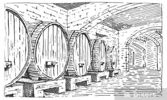 Vinilo Pixerstick Barriles De Vino En Estilo De Epoca Antigua