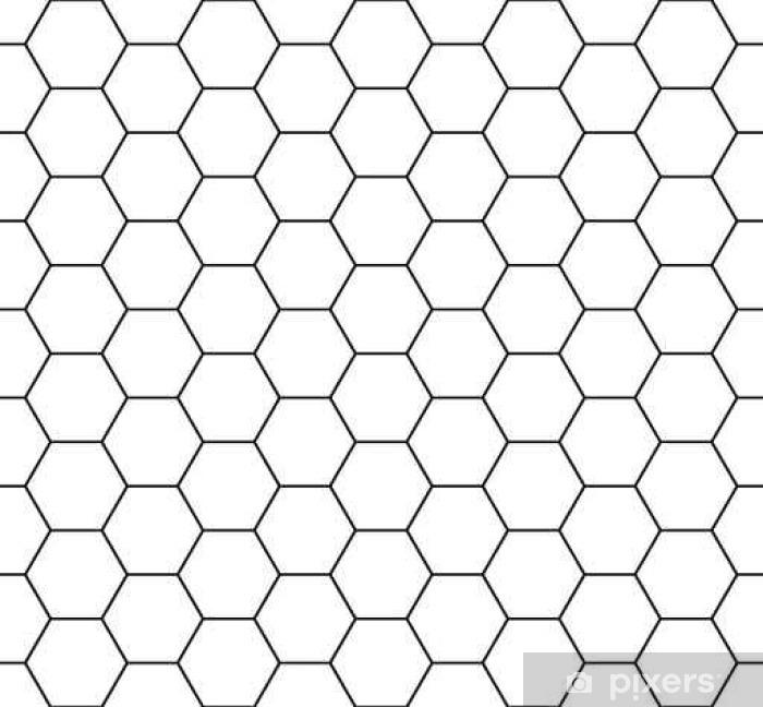 Naklejka Pixerstick Jednolite wzór plastra miodu. Seamfree grzebień sześciokąt miód wektor wzór. - Zasoby graficzne