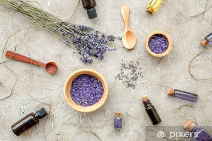 Essential oil and lavender salt with flowers top view Vinyl Wall Mural - Lifestyle