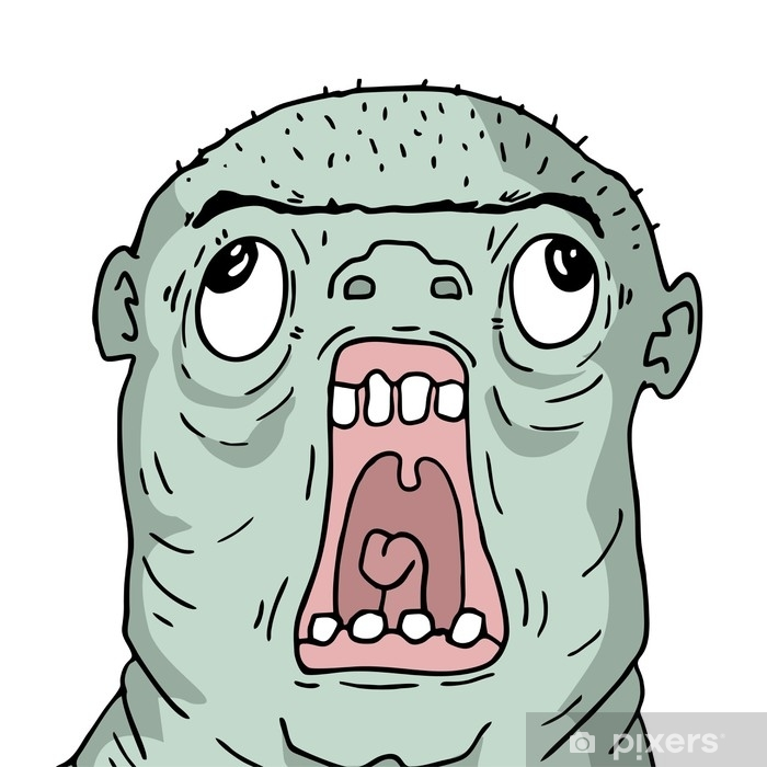 ugly ogre face Pixerstick Sticker - People