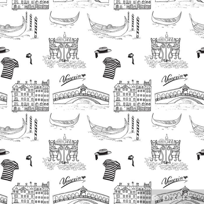 Lack Tischaufkleber Venedig Italien Nahtlose Muster Hand Gezeichnete Skizze Mit Gondeln Gondoliere Kleidung Hauser Markt Brucke Und Cafe Tisch Mit