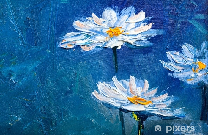 Oil Painting Daisy Flowers Sticker Pixers We Live To Change