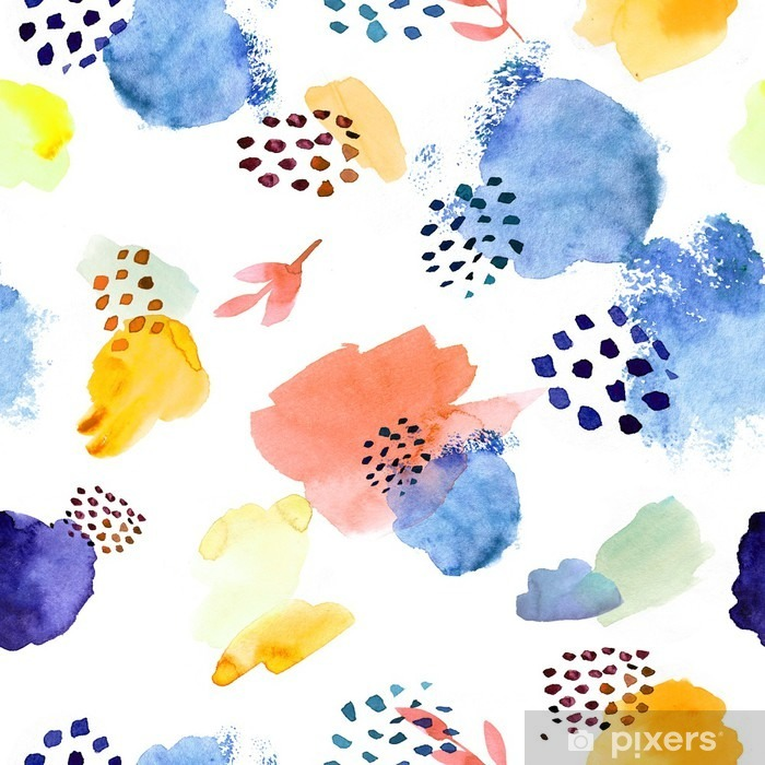 Papier peint vinyle Aquarelle seamless, modèle de mode dot memphis, lumineux de - Ressources graphiques