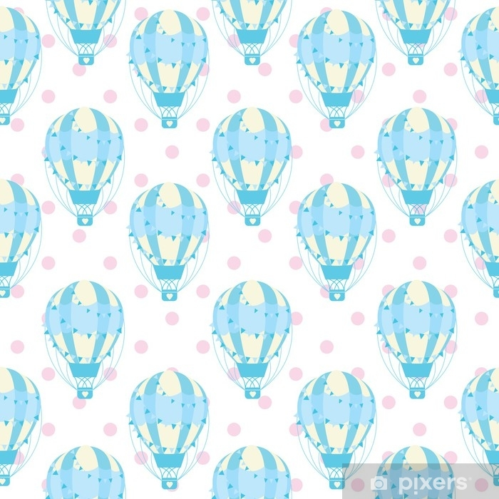 Baby Shower Seamless Pattern With Cute Blue Hot Air Balloon On Polka Dot Background Suitable For Wallpaper Fabric And S Paper Wall