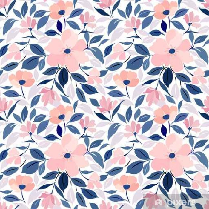 Seamless Pattern With Floral Ornament Pink Flowers Blue And