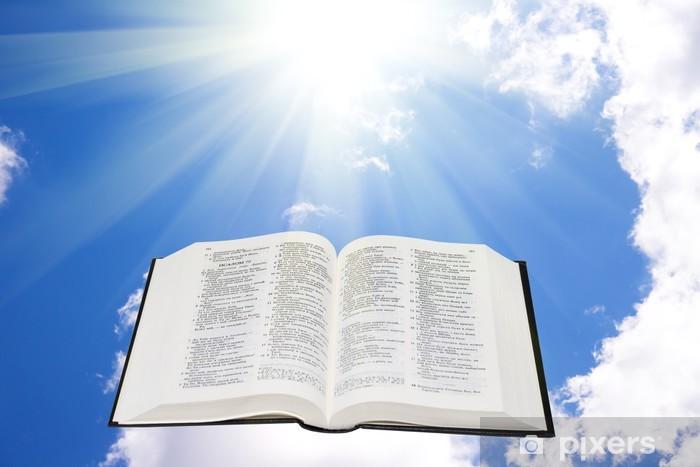 Pixerstick Sticker Bijbel in de hemel verlicht door een zonlicht - Religie