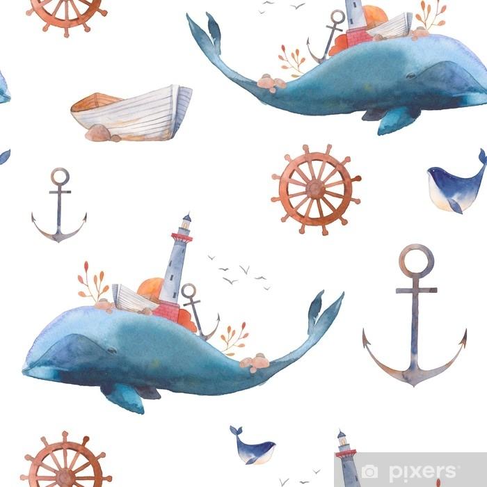 Fototapeta vinylová Akvarel tvořivý velryb seamless vzor. ručně malované  fantazie textury s modrou moře velryby 88db4f7b99