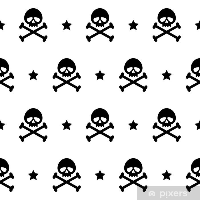 Sticker Pixerstick Os de crâne texture répétée modèle sans couture imprimer pirate noir blanc - Ressources graphiques