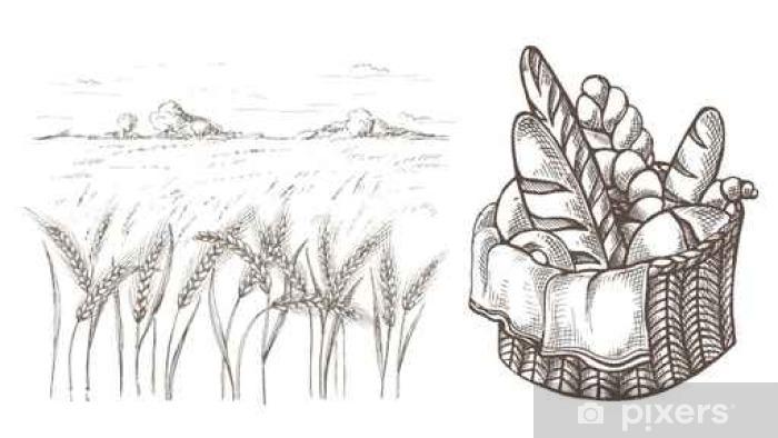 Carta da Parati Fresco Cestino Pane e spighe di grano in ...