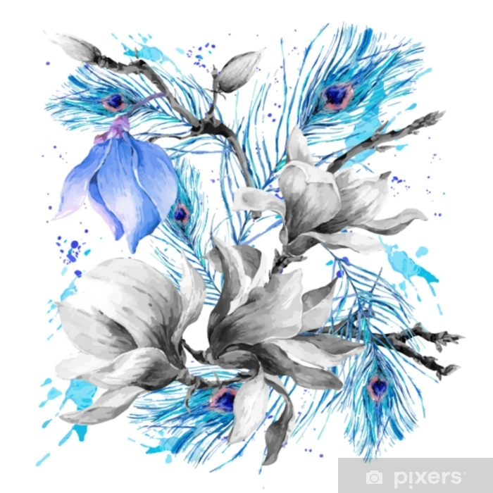 Papier peint vinyle Carte de voeux aquarelle avec floraison fleurs magnolia - Plantes et fleurs