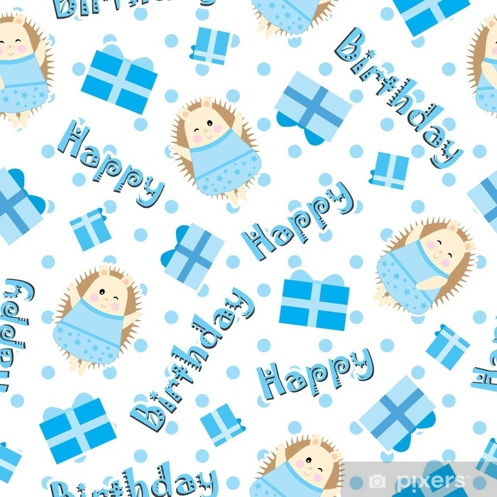 Birthday Seamless Pattern With Cute Hedgehog And Birthday Gift On