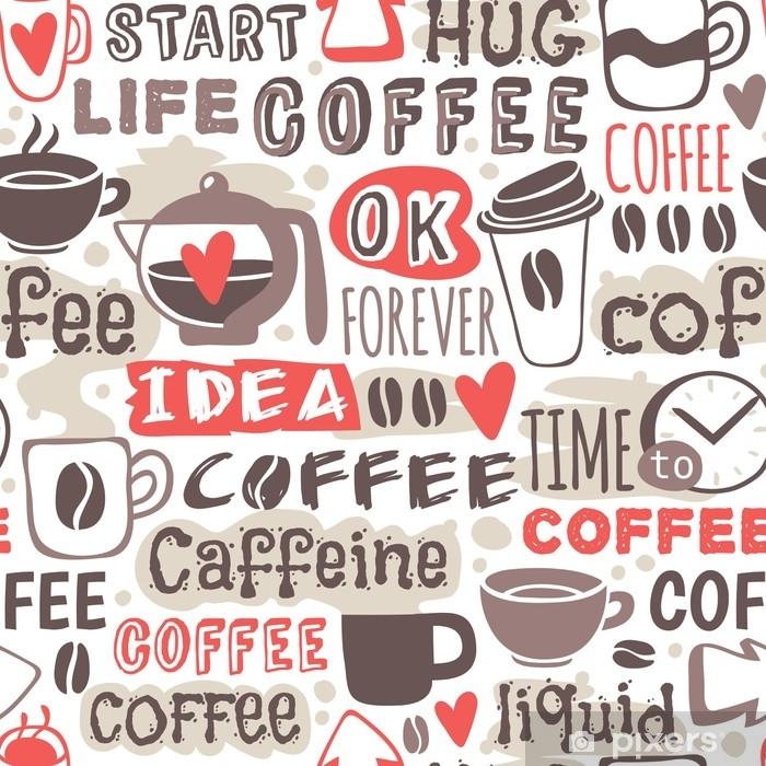 Vinilo Pixerstick Ejemplo inconsútil dibujado mano del vector del café del garabato. - Bebida