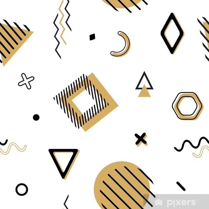 Vector seamless memphis pattern with geometric elements in black and gold   Chaotic trendy geometry in minimalistic flat style  Suitable for fashion,