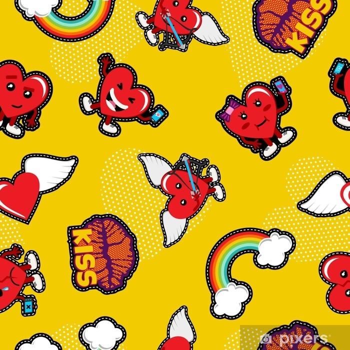 Aufkleber Valentinstag Liebe Emoji Patch Nahtlose Muster Pixers