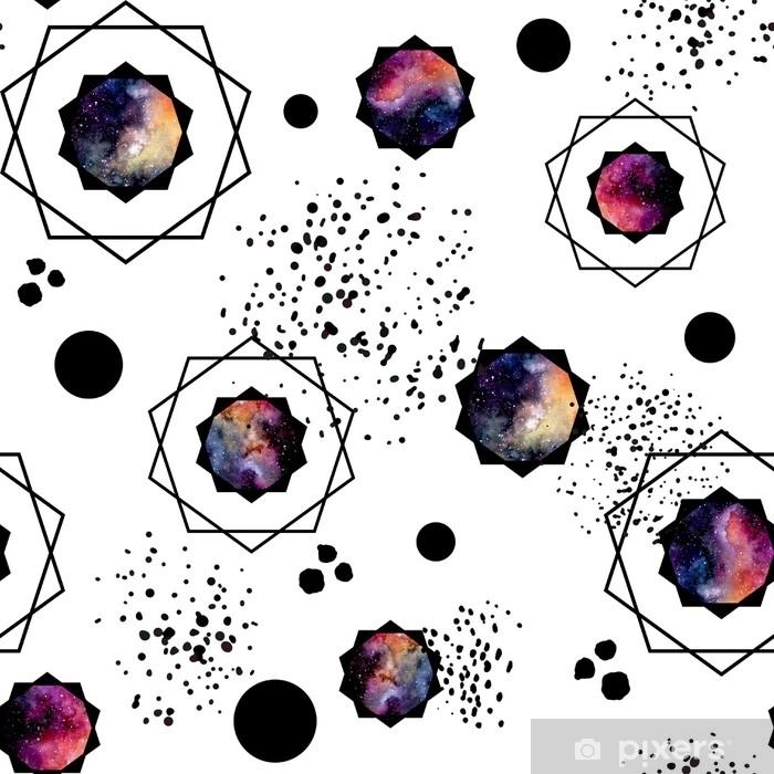 Vinyl Fotobehang Naadloze patroon van aquarel zwarte stippen en Melkweg in veelhoeken - Grafische Bronnen