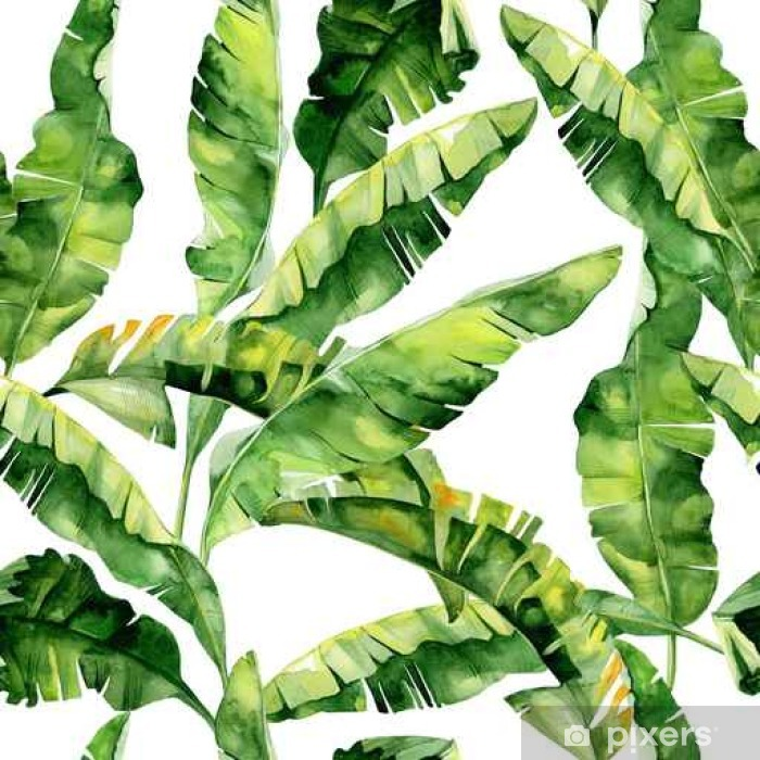 42a1c2421965 Seamless watercolor illustration of tropical leaves, dense jungle. Pattern  with tropic summertime motif may be used as background texture, wrapping ...