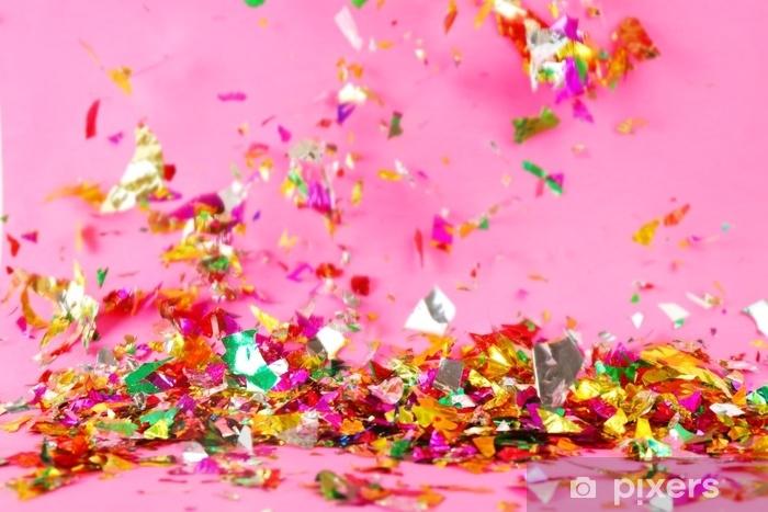 Pixerstick Sticker Kleurrijke confetti op kleur achtergrond - Hobby's en Vrije tijd