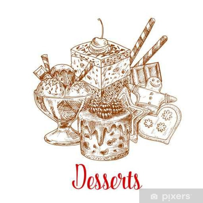 Papier peint vinyle Gâteau, crème glacée, biscuits de pain d'épice affiche croquis - Nourriture