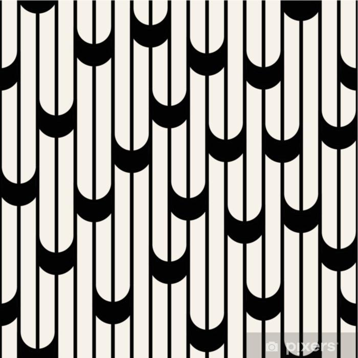 Bureau- en Tafelsticker Abstract geometrisch zwart-wit minimaal grafisch ontwerplijnenpatroon - Grafische Bronnen