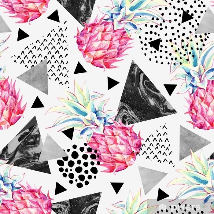 Poster Aquarell Ananas und texturierte Dreiecke nahtlose Muster. - Grafische Elemente
