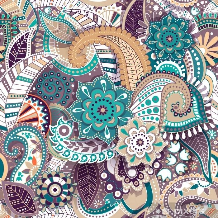 Aufkleber Bunte Paisley Nahtlose Muster Ursprungliche Dekorative Kulisse Indische Tapete Pixerstick