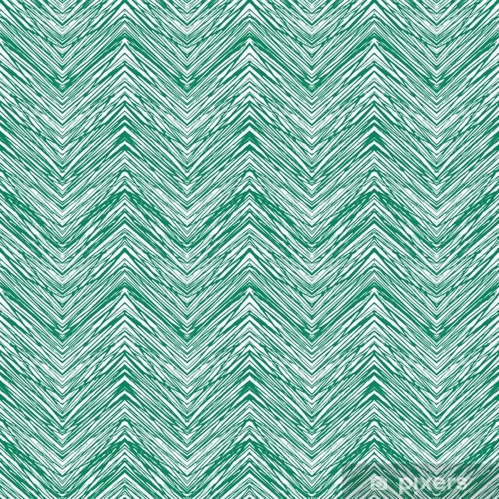 Smaragdgrøn håndtegnet vektor zigzag mønster Vinyl fototapet - Grafiske Ressourcer