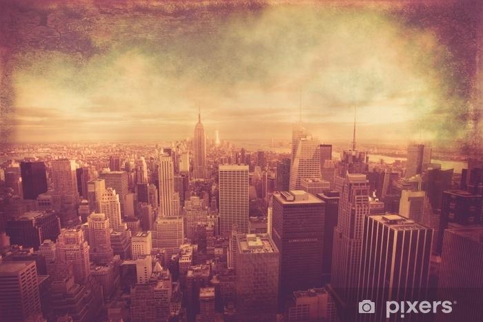 Fototapeta winylowa Nowy Jork panoramę Manhattanu z rocznika efekt tekstury - Budynki i architektura