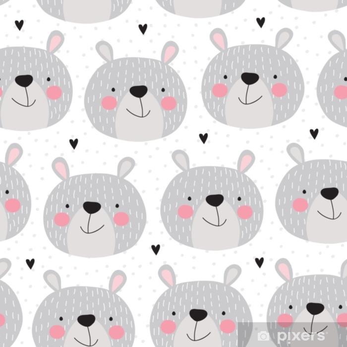 Fotomural Estándar Ilustración de vector de patrones sin fisuras del oso de peluche - Animales