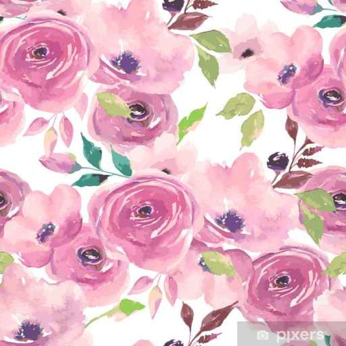 Watercolor Seamless Pattern Painted Flowers Design Wall Mural