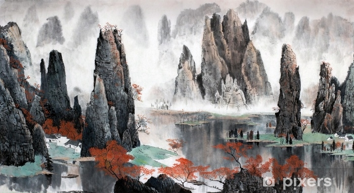 Chinese landscape of mountains and water Self-Adhesive Wall Mural - Landscapes