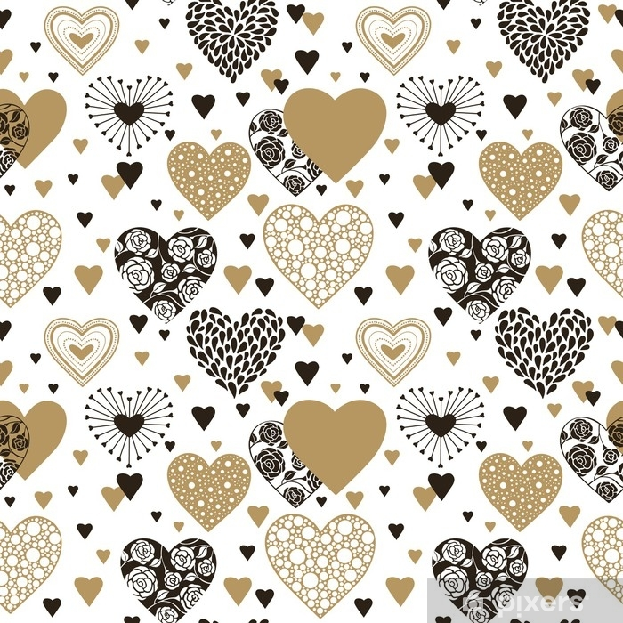 Cute Hearts Seamless Background Valentines Day Ornament Black And Gold On White Romantic Tiled