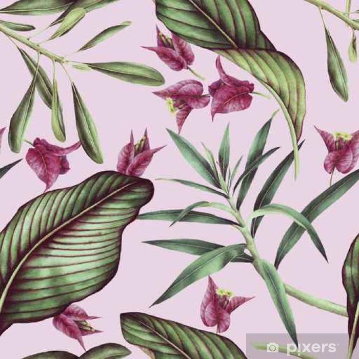 Alfombrilla de baño Patrón sin fisuras de flores tropicales, acuarela. - Plantas y flores