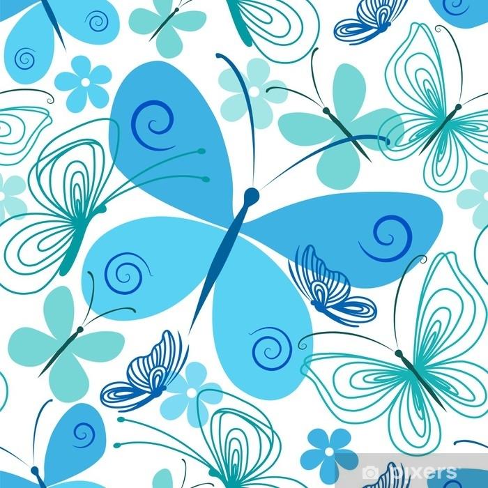 Sticker pour vitres et fenêtres Papillon bleu et turquoise - Environnement