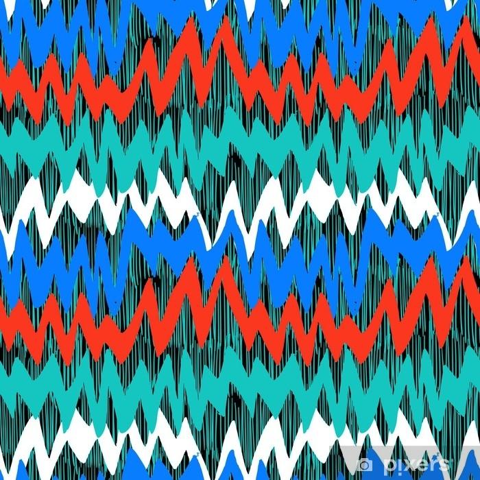 Tvättbar Fototapet Randigt handritat mönster med zigzaglinjer - Grafiska resurser