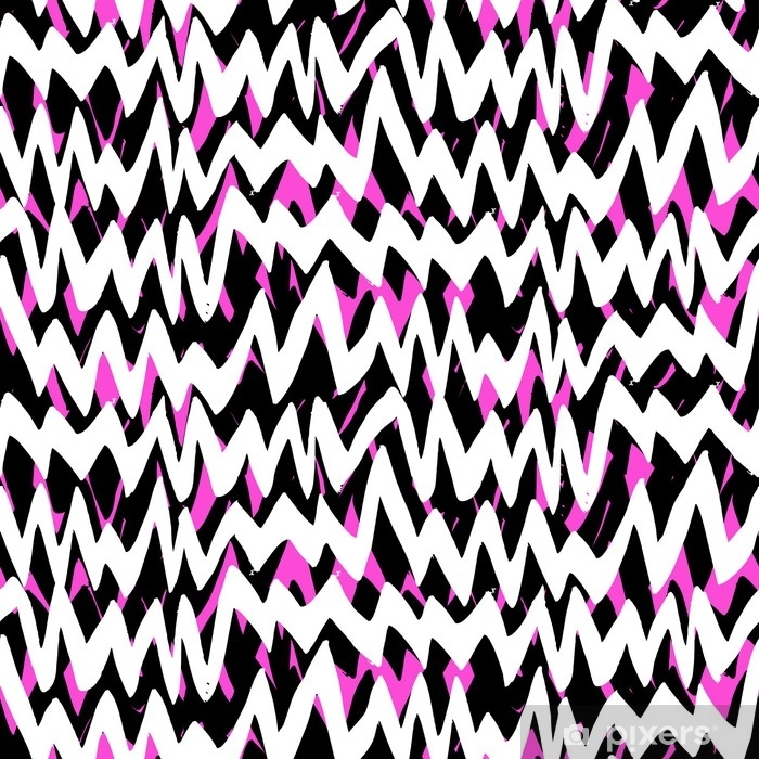 Striped hand drawn pattern with zigzag lines Vinyl Wall Mural - Graphic Resources