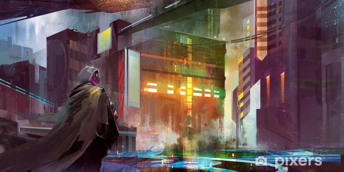 Fototapeta winylowa Miejski krajobraz przyszłego cyberpunka - Budynki i architektura