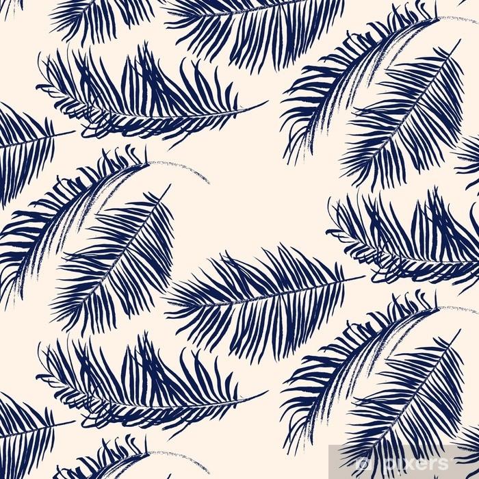 Sininen palmu lehtiä kuvio Ikkuna- ja lasitarra - Kasvit Ja Kukat