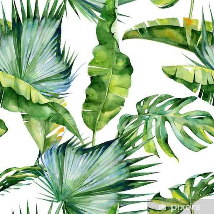 Papier Peint Autocollant Illustration aquarelle sans couture des feuilles tropicales, jungle dense. Le motif avec un motif tropicale d'été peut être utilisé comme texture de fond, papier d'emballage, textile, conception de papier peint. - Plantes et fleurs