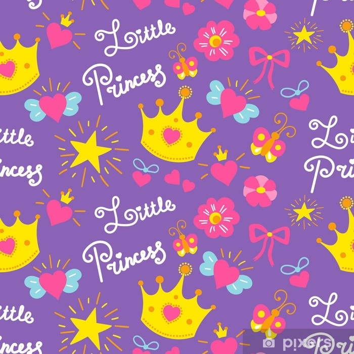 Little Princess Pattern Vector Cute Girl Background For Template Birthday Card Baby Shower Invitation Girls Wallpaper And Fabric Kids Print With Stars Flowers Crowns Bows And Hearts Wall Mural Pixers