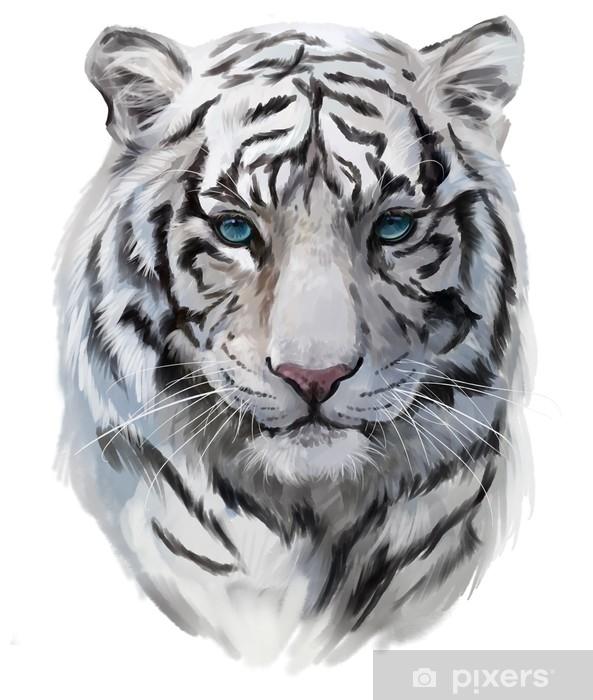 Sticker La Tête Du Tigre Blanc Pixerstick