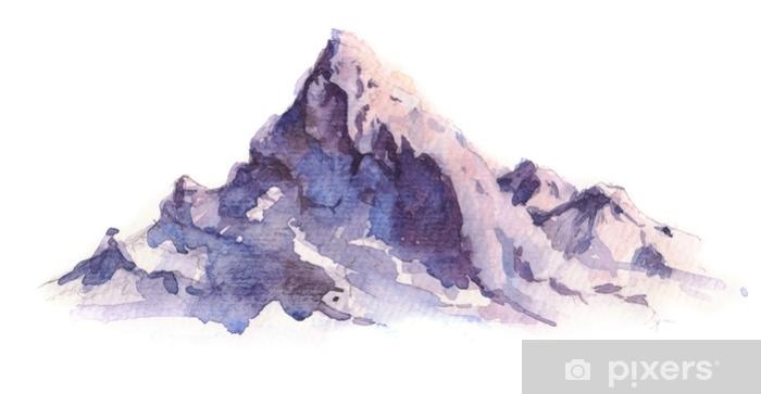 Pixerstick Sticker Winter bergen landschap, geïsoleerd op een witte achtergrond. hand getrokken, aquarel illustratie. - Landschappen